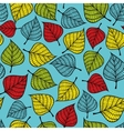 Colorful seamless pattern with leaves on blue vector image
