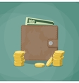 closed wallet with cash vector image