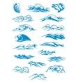 Blue breaking ocean waves vector image