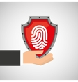 hand holding fingerprint shield protection data vector image