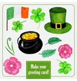 Stpatrick day set for greeting card with hat vector image