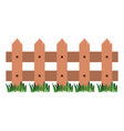 white background with wooden fence and meadow vector image