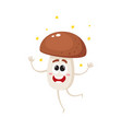 funny porcini mushroom character shining from vector image