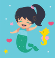 Amusing Little Mermaid and seahorse vector image vector image