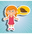 girl cartoon chicken food vector image
