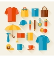 Icon set of promotional gifts and souvenirs vector image
