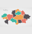 kazakhstan map with states and modern round shapes vector image