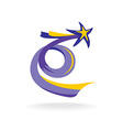 Rising star with spiral colorful tail vector image