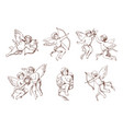 set of different vintage cupid various flying vector image