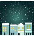 Christmas town on snowing background vector image
