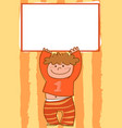 cartoon boy holding empty sign vector image