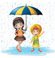 two kids in the rain vector image vector image