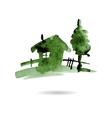 Watercolor hand drawn village house vector image