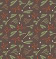 Seamless botanical winter wallpaper vector image