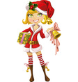 cute blond girl in red Santa suit with bell vector image vector image