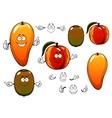 Fresh sweet mango peach and kiwi fruits vector image