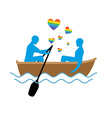 Gays in boat Lovers of sailing Rendezvous blue men vector image