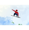Snowboarder at jump inhigh mountains vector image