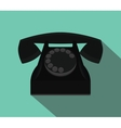 old black telephone with flat style and long vector image