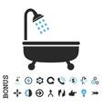 Shower Bath Flat Icon With Bonus vector image
