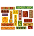 African tribal ornaments set with ethnic patterns vector image