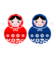 Cute Russian Matreshka dolls - red and blue vector image