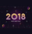 happy new year retro 80s abstract greeting card vector image
