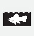 icon with a fish in the aquarium vector image