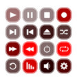 set of monochrome icons with media player symbols vector image