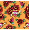 tattoo love pattern rose vector image
