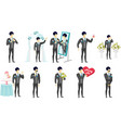Young asian groom set vector image