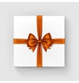 White Gift Box with Orange Satin Bow and Ribbon vector image