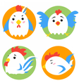 Cute rooster cartoon characters vector image