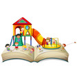 children playing at playground on book vector image vector image