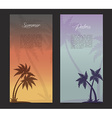 Palms silhouettes card background vector image