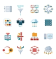 Flat Filtering Data Icons vector image