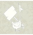Hand Drawn Character Goose with wooden poster vector image