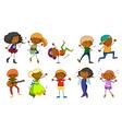 Set of kids singing and dancing vector image