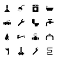 black plumbing icons set vector image