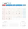 calendar planner for july 2018 vector image