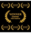 Film Awards Winners Laurels on Black Background vector image