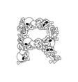 letter r skeleton bones font anatomy of an vector image