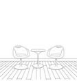 sketch of modern interior table and chairs vector image