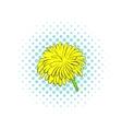 Yellow dandelion flower icon comics style vector image