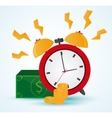 Traditional clock bills and coins design vector image