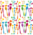 Silverware icons seamless pattern vector image