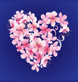 pink flowers heart on dark blue background vector image vector image