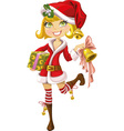 cute blond girl in Santa suit with bell vector image vector image