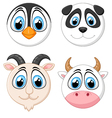 Collection baby face animal vector image