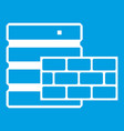 Database and brick wall icon white vector image
